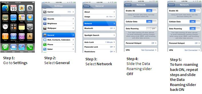 GP Internet roaming on-off process for iPhone