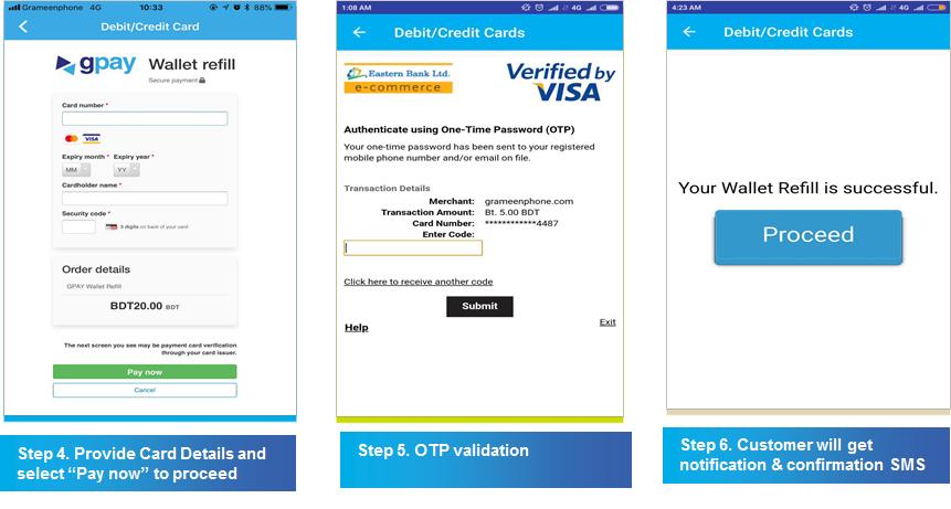 Gpay wallet refill through visa card